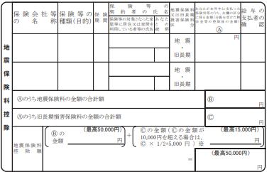 保険料控除申告書-地震保険